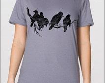 Black Birds Ravens on a Tree Limb - Men's Nature Art T Shirt American Apparel Unisex Shirt