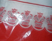 """RESERVE FOR KATHY Curtains 24""""/Red Panels with Tulips/ 50's Home decor/60's Home Decor/ Christmas decor/ window curtains"""