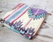 Vintage Retro Pastel Colored Tribal Southwest Aztec Rug