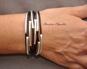 Sterling Silver and Leather Bracelet - Christine Chandler - 8 Strand - Leather and Sterling Silver Jewelry - Leather Wrap Bracelet - Leather