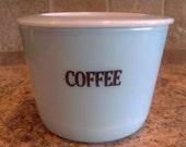 VINTAGE McKee Delphite Blue Round COFFEE Canister w/Lid