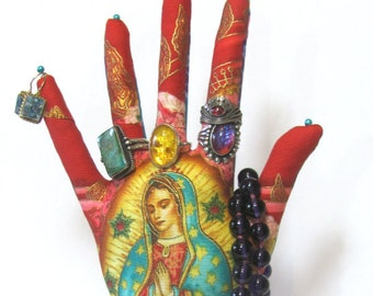 Inner Faith Goddess Our Lady of Guadalupe Hand Jewelry Display LARGE WristStyle HAND-Stand