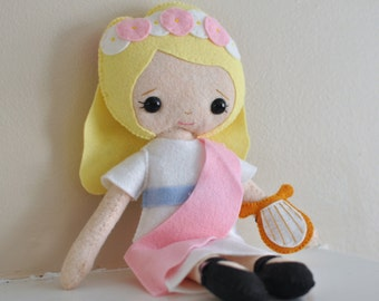 Catholic Toy Doll - Saint Cecilia - Wool Felt Blend - Catholic Toy - Felt Doll