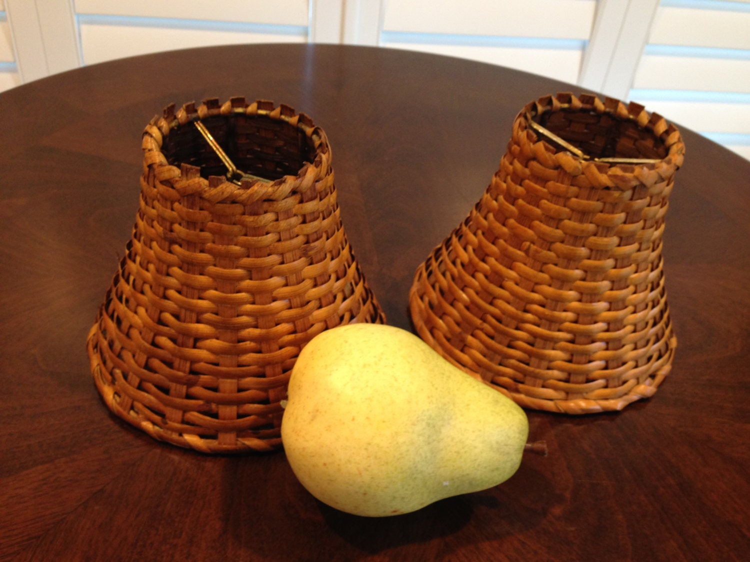 Pair Of Small Very Sturdy Wicker Lamp Sconce Shades Antique