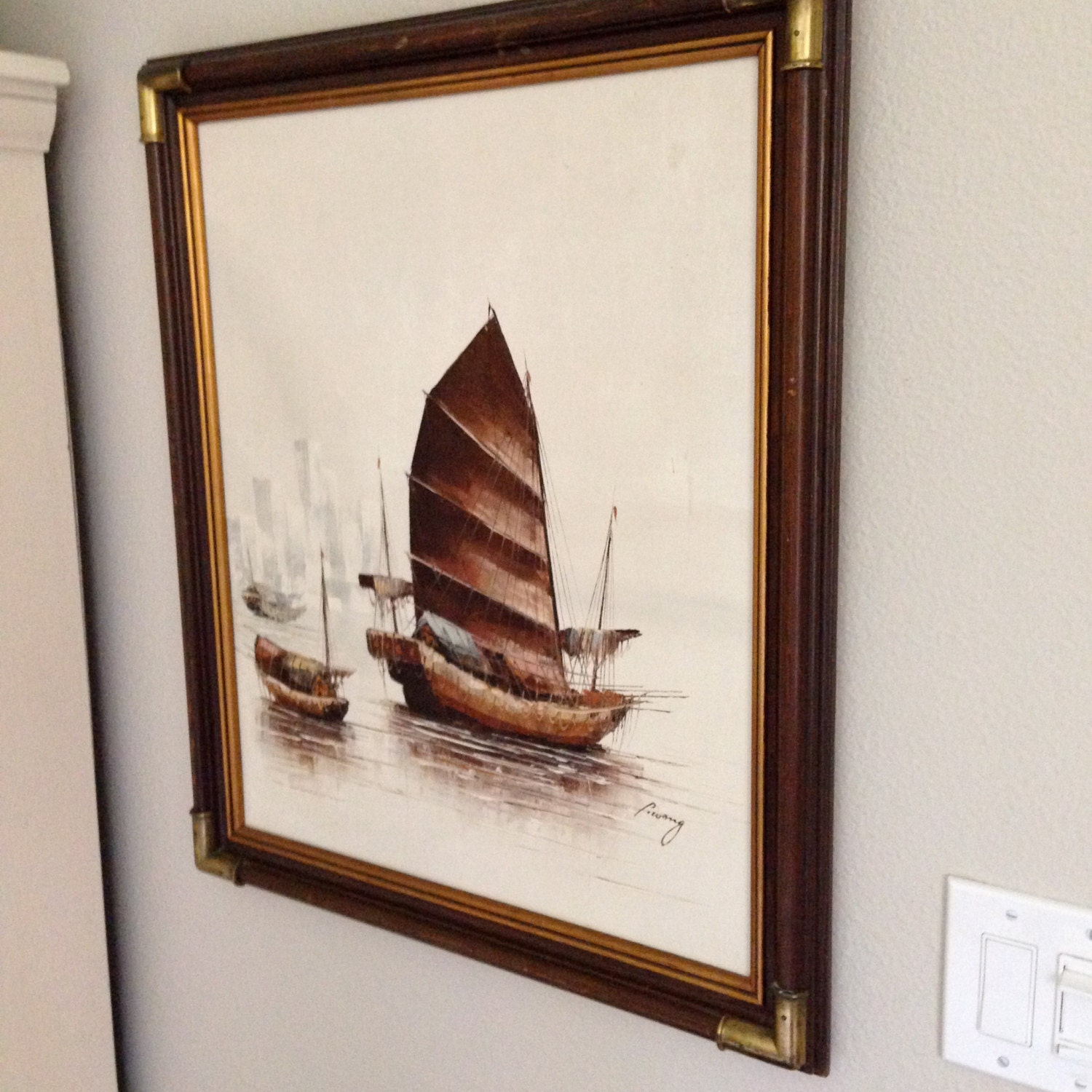 P. Wong Oil Painting Junk Boats Signed Artistic Interiors