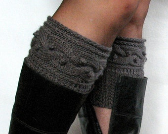 Dark Gray Boot Cuff Boot Toppers Leg Warmers Boot Socks Knit Legwarmers Cable Knitted