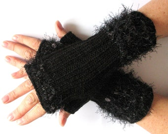 Fingerless Gloves Dark Gray Arm Warmers Mittens Knit, Wool Acrylic
