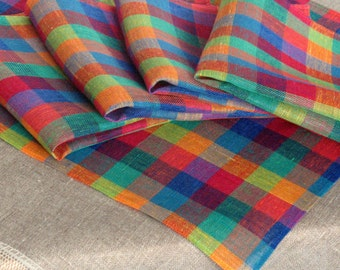 """Linen Napkin Square Rustic Checked Rainbow Blue Red Green Yellow set of 8 size 17"""" x 17"""" Classic style"""