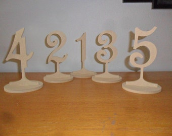 "1-35 Wooden Table Number 4"" number on a stick 6"" Tall with base MDF wood wooden DIY Wedding table numbers table number"