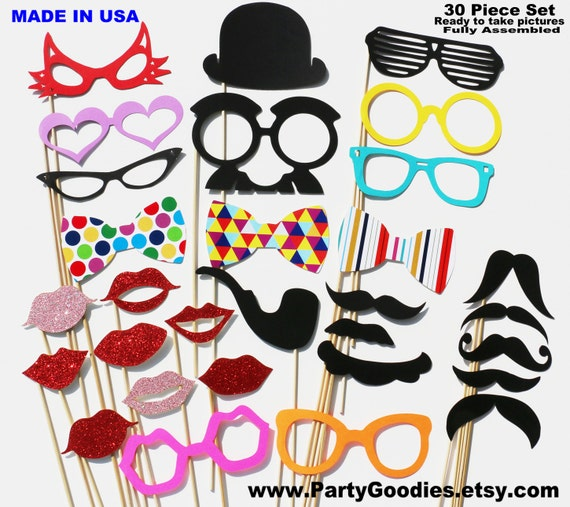 Party Favor Photo Booth Props - 30 Piece GLITTER Set - Birthday Weddings Photobooth Props