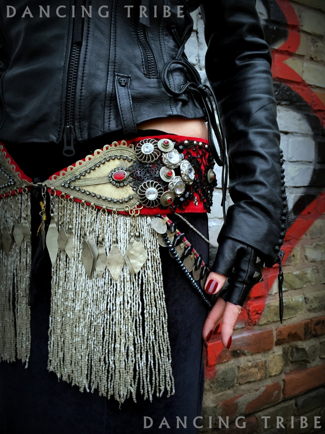 Tribal Fusion Belly Dance Belt Dark Fusion Gothic Belly Dance
