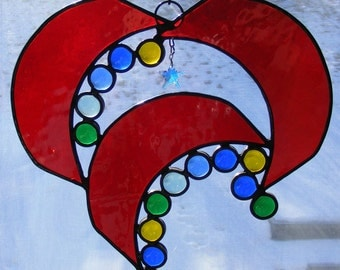 Stained Glass Suncatcher - Abstract Heart with Nuggets and Crystal Star