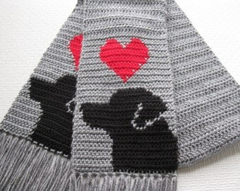 Labrador Retriever Scarf.  Grey, crochet scarf with red hearts and black labs. Dog scarf