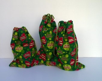3 Christmas Gift Drawstring Flannel Gift Bags Upcycled To You From Me