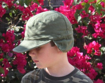 Youth Army Hat with Ear Flaps SALE! // Vintage Military baseball hat with earflaps // Green Canvas Hat // Army Baseball Cap