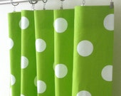 Curtain Panels 24W or 50W x 63, 84, 90, 96 or 108L in Premier Prints Chartreuse & White Dots
