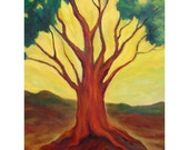Original Oil Painting  Myrtle Tree, Yellow Sky Green Brown, Shirin Mackeson