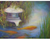 Original Oil Painting, Koi Pond with Pagoda,Koi Fish, Willow,Shirin Mackeson