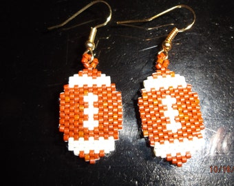 SALE Beaded Sports Football Earring Great Gift for Foot Ball season Brick Stitch, Peyote, Southwestern, Great Gift Ready to Ship