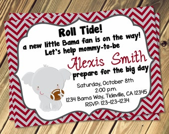 Alabama Baby Shower Invitation Print Your Own 5x7 or 4x6