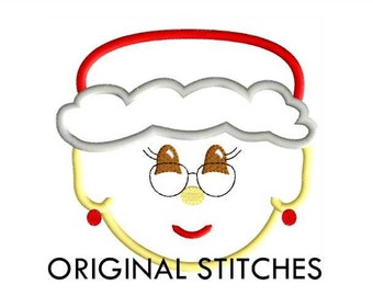 Mrs Claus Face Applique and Machine Embroidery Digital Design File 4x4 5x7 8x8 6x10