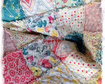 Rag Quilt - King Queen Full Twin Throw Rapture Pat Bravo Citric Happiness - Teal Yellow Red - Handmade Modern Bedding