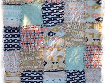 Rag Quilt - Arizona- King Queen Full Twin xl Throw - Coral - Navy - Mint - Gold - Tribal Handmade Bedding