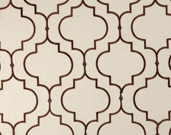 Two 20x20 Custom Pillow Covers -  Kaslen Embroidered Tile Design  Quatrefoil -  Brown