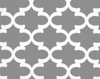 "Two  96"" x 50""  Custom Curtain  Panels -Grey Fynn Tile Pattern  -  Grommets Available"