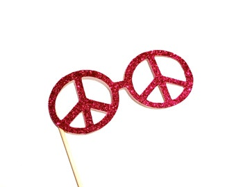 Photo Booth Props -  GLITTER PEACE glasses - You Choose Color - Birthdays, Weddings, Parties - Photobooth Props