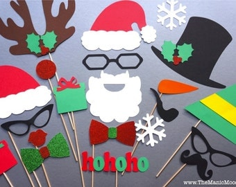 Christmas Photo Booth Props - 21 piece set - GLITTER Photobooth Props - Ultimate Holiday Collection - Santa and Friends Deluxe Edition