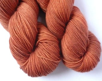 Hand Dyed Yarn - Merino / Cashmere / Nylon Sock Weight - Ausable Sock in Copper Penny Colorway