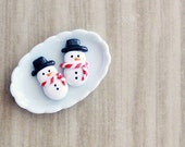 Polymer Clay Miniature Food Jewelry - Holiday Snowman Stud Earrings