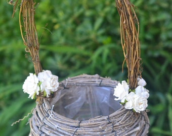 Large Rustic natural grapevine flower girl basket decorated with mulberry paper flowers