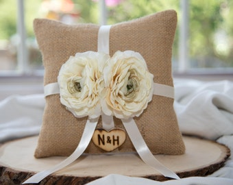 Ring Bearer Pillow with matching ribbon featuring ivory flower over 60 different flowers and 35 ribbon to select from