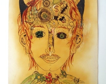 Vintage Original Mixed Media Spray Paint & Marker Illustration