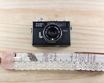 DSLR Camera strap (leather and webbing)---Lace style 7---Tower, Frame,Feathers, Pen, Word