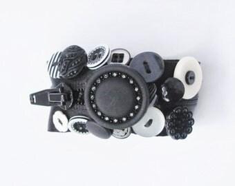 Black and White Satin Zipper Bracelet