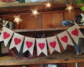 Glittery Heart Bunting, Love Bunting, Valentines Day Bunting, Valentines Day Banner, Valentines Day Garland, Valentines Pennant, Valentine