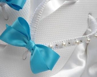 Turquoise Wedding Flip Flops, Bachelorette party favors, macrame flip flops, vintage bride, honeymoon gift, bridal flip flops, bride