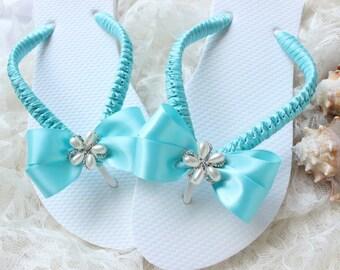 Wedding shoes low heel/FLAT flip flops, AQUA Rustic chic beach wedding flip flops, bridal flip flops, spa blue weekend wedding, bride gift