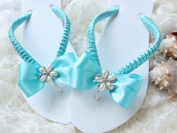 Rustic chic wedding shoes, FLAT flip flops beach wedding flip flops, romantic cottage chic bridal flip flops, bohemian, blue wedding