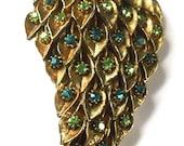 Green & Gold Rhinestone Pine Cone Brooch Fashion Mad Men Retro Party Jewelry