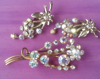 Rhinestone Brooch Earring Set Brides Wedding Jewelry Set Mad Men Fashion Accessory