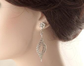 Bridal earrings-Vintage inspired art deco earrings-Swarovski crystal rhinestone navette earrings-Antique silver earrings-Vintage wedding