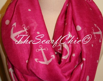 Nautical Anchor Magenta Infinity Scarf Polyester Circle Loop Scarf Infinity Scarf Chunky Cowl Ship Anchor-Womens Accessories