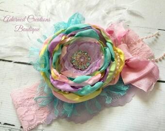 Easter Pastels Headband, Baby Headband, Toddler Headband, Girls Headband, Easter Headband