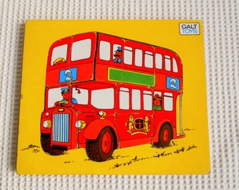 Red London Bus Vintage Wood Puzzle Game Toy Childrens