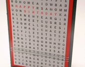 Happy Birthday, Greeting Card, Handmade, Word Search, Black, White and Red