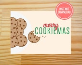 Merry Cookiemas Printable Christmas Card - 5x7 - INSTANT DOWNLOAD